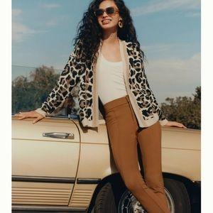 NWT Anthropologie Line Dot Luella Leopard Cardigan
